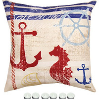 """Manual Woodworkers SLNBSH Nautical Breeze Seahorse Indoor Outdoor Pillow 18""""x18"""" with 6-Pack of Tea Candles"""