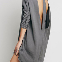 Long Sleeve Sweatshirt Dress with Cut Out Back