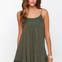 Time of Our Lives Olive Green Lace Dress
