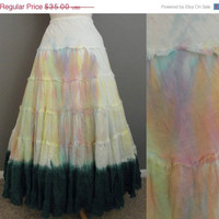Extended STOREWIDE SALE Vintage 70s 80s India Gauze Paint Washed Tie Dye Ombre Tiered Skirt - VTG 1970s 1980s Gypsy Swing Bohemian Maxi