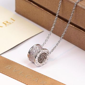 8DESS Bvlgari Women Fashion Diamond Chain Necklace