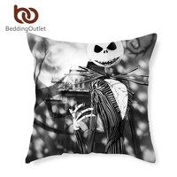 BeddingOutlet Cushion Cover Black and White Bedding Nightmare Before Christmas Pillow Cover 45cmx45cm