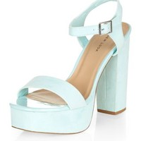 Mint Green Chunky Ankle Strap Heels