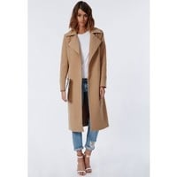 Khloe Premium Waterfall Coat Camel - Coats & Jackets - Missguided
