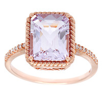 10k Rose Gold Rose de France and Diamond Accent Ring | Overstock.com Shopping - The Best Deals on Gemstone Rings