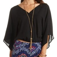 Bloused Kimono Sleeve Wrap Top by Charlotte Russe