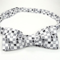 Chess bowtie, Game bowtie, chess tie, game pieces bowtie, chess accessory, chess club, mens bowtie, game board bowtie, chess game
