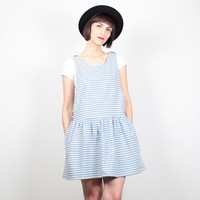 Vintage 90s Dress Light Blue White Gingham Plaid Mini Dress Soft Grunge Dress Drop Waist Skirt Pinafore Overalls Dress 1990s Dress L Large