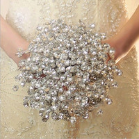handmade Crystal Wedding bouquet lace flower silk Bride Hands Holding Rose Flower Wedding Bridal Bridesmaid Flower = 1930057284