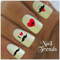 Mustache Nail Decal. 20 Vinyl Stickers Nail Art
