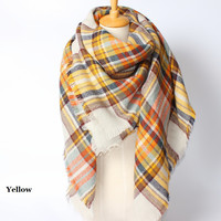 Yellow Blanket Scarf, Plaid blanket scarf, tartan scarf, oversized plaid scarf, Zara style plaid scarf, blanket scarves, Fall Scarf , Available in 6 Colors