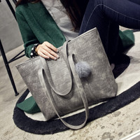 Vintage Womens Gray Large Leather Shoulder Bag