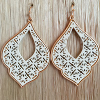 Ivy Element Earrings In White