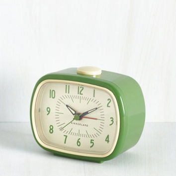 Vintage Inspired It's About Timeless Clock in Fern by Kikkerland from ModCloth