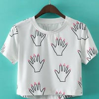White Short Sleeve Hands Printed Crop Top