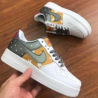 Air Force 1 Nike Starry Sky Dark green yellow shoes flat sneakers