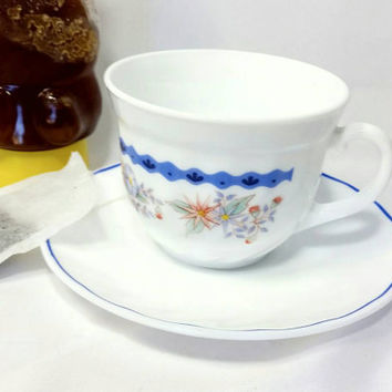 Vintage Arcopal France Blue Floral Pattern Teacup and Saucer/Floral Milk Glass Cup and Saucer/Tea Time Swirl Cup and Saucer