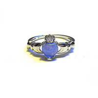 925 Sterling Silver 6MM Blue Fire Opal Claddagh Ring Sterling Silver Blue Fire Opal Ring Fire Opal Ring Fire Opal Jewelry October Stone Ring