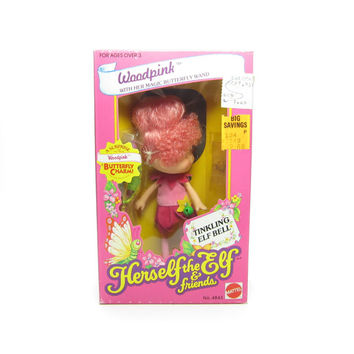 Woodpink Doll MIB Factory Sealed NRFB Herself the Elf Toy with Charm Bracelet, Comb, Wand, Dress, Shoes