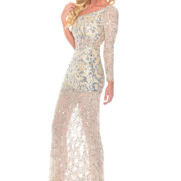 Precious Formals P9213 One Shoulder Sequin Sheer Illusion Prom Dress Evening Gown