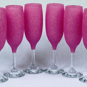 Glitter champagne glasses Barbie Pink Set of 6
