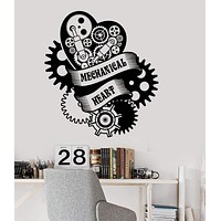 Vinyl Wall Decal Mechanical Heart Steampunk Engine Garage Art Stickers Unique Gift (ig3589)