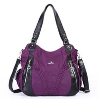 Angelkiss Women Top Handle Satchel Handbags Shoulder Bag Messenger Tote Nylon Material Purses Bag (Purple-1)