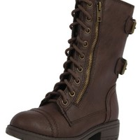 GIRL's Brown Combat Riding Mid-Calf Boots Soda Dome Brn todder/ little kid 12