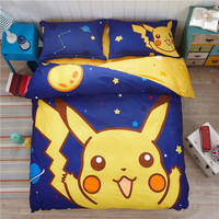 Pokemon Bedding Set Cartoon Kids Favorite Home Textile Pikachu in the Late Night No Fading Bed Sheet Twin Queen Bedspread