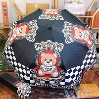 Moschino New fashion bear plaid print umbrella Black