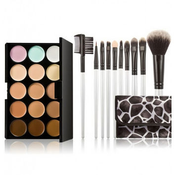 15-color Concealer + 10pcs Professional Multifunctional Cosmetic Makeup Brushes Set Black & White Stone Lines