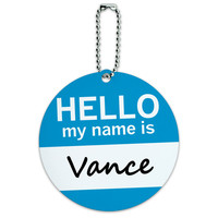 Vance Hello My Name Is Round ID Card Luggage Tag