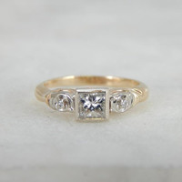 Princess Cut Diamond In A Vintage Engagement Ring A3PA1Q-P