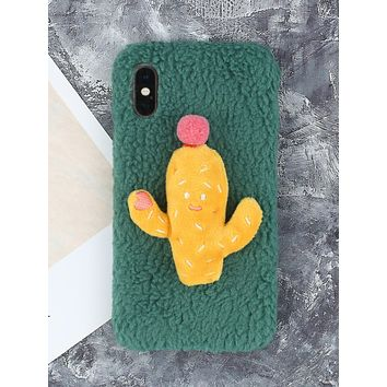 Cartoon Cactus Fluffy iPhone Case