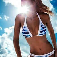Summer Women Vintage Halter Blue White Stripe Print Two Piece Bikini Swimsuit I