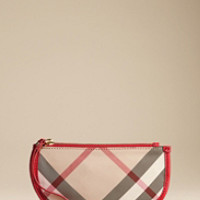Exploded Check Leather Trim Wristlet