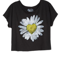 Daisy Heart Tee - Black
