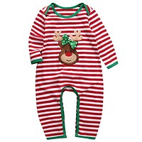 Rompers Striped Pajamas Sleepwear Romper Long Sleeve Cotton Clothing Christmas born Kids Baby Boys Girls Clothes
