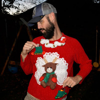 Shot glass and liquor holder, Ugly Christmas Sweater, with Reindeer and fuzzy collar, unisex, XL, men, woman, redneck