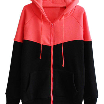 Red Zippered Drawstring Hoodie