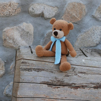 crochet brown teddy bear with blue bow, amigurumi bear, crochet doll for children, sitting bear, stuffed soft toy, natural rustic old