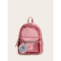 Pom Pom Decor Velvet Backpack