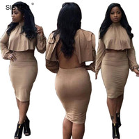 Women Two Piece Outfits 2016 Winter Long Sleeve  Black Backless Sexy Club Bandage Dress  Bodycon Party Dresses Vestidos