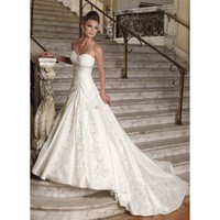 Ball Gown Sweetheart Embroidery Beaded Net Wedding Dress