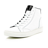 River Island MensWhite leather lace up hi-top sneakers
