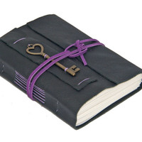 Black Leather Wrap Journal with Heart Key Bookmark