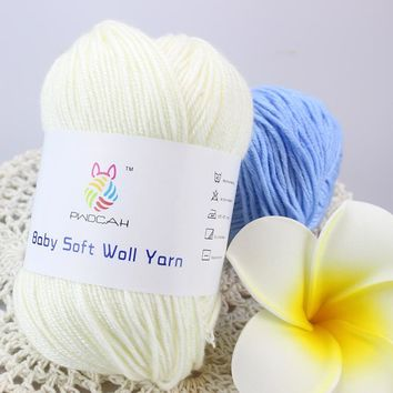 Baby Merino Wool Silk Cashmere Crochet Yarn For Hand Knitting Sale Thick Cotton Crocheted Yarn Sweater Blanket Laine a tricoter