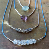 Minimalist gemstone necklace set of two Gem and silk cord necklace Sterling silver tiny beads Minimal jewellery Moonstone Seafoam Chalcedony