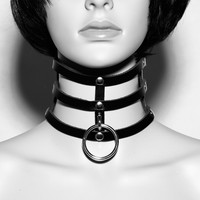 Fashion Punk Goth Rivets Choker Handmade Three Row Caged Necklace Clear Transparent Vinyl Leather Choker Collar Necklace