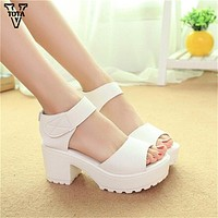 Fashion Women Sandals Summer shoes 2017 wedges Open Toe Thick Heel Mujer Soft PU Women Platform Sandals high-heeled Shoes Woman